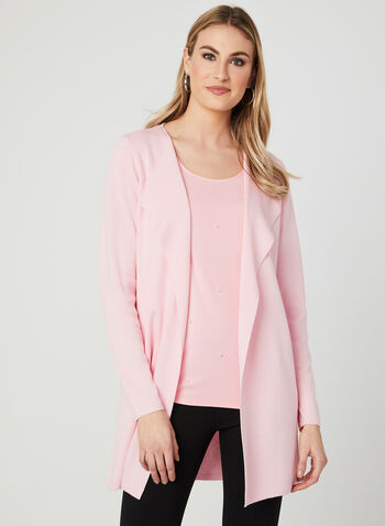 Open Front Knit Cardigan, Pink, hi-res