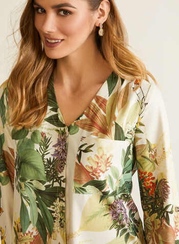 Long Sleeves Printed Blouse, White,  fall winter 2020, long sleeves, V-neck, tropical print, asymmetric fit, buttonholes, tie detail, bow detail, knot detail, breast pocket, holiday, holiday 2020, gift, roll up sleeves