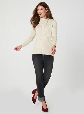 Jeans coupe moderne à effet délavé, Noir,  automne hiver 2019, jeans, jean, denim, délavé, coupe moderne, ourlet replié, strass, pierres, cheville, jambe étroite