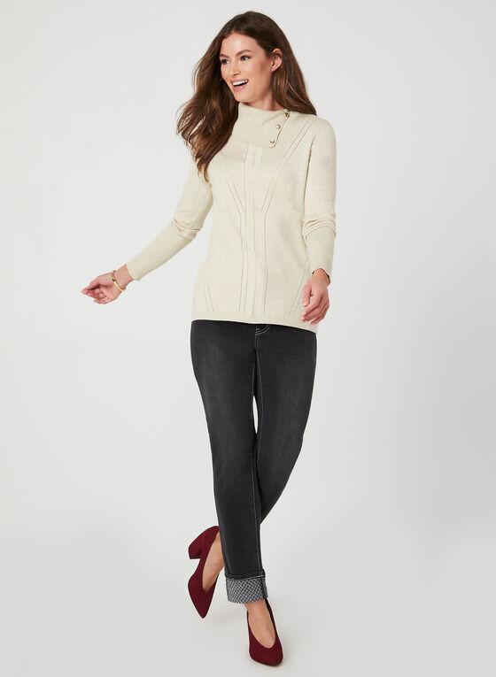 Jeans coupe moderne à effet délavé, Noir