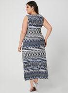 Tribal Print Maxi Dress, Blue, hi-res
