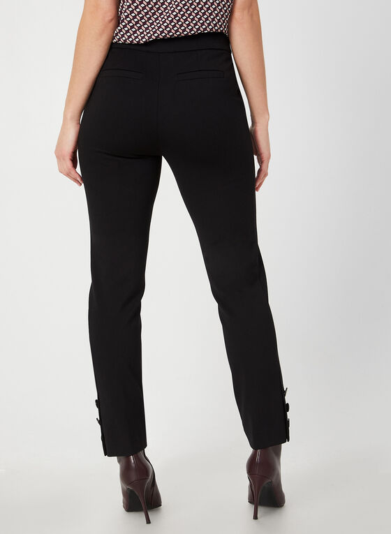 Pantalon coupe moderne en point de Rome, Noir