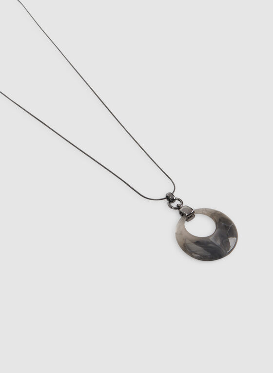 Resin Pendant Necklace, Grey