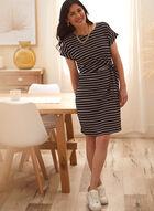 Striped Knot Detail Dress, Black