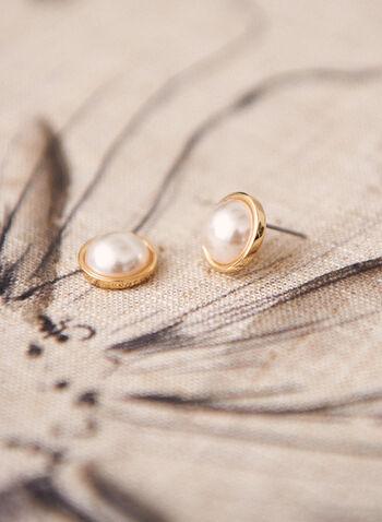 Pearl Stud Earrings, Off White,  jewellery, accessories, earrings, stud, pearl, metallic, pushback, spring summer 2021