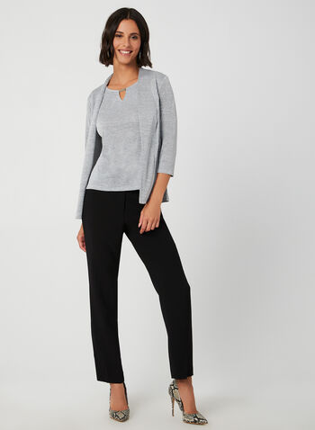 Open Front Knit Top, Grey, hi-res,  cover up, open front, ¾ sleeves, 3/4 sleeves, knit, fall 2019, winter 2019