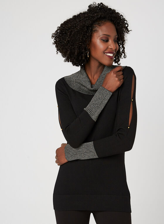 Cowl Neck Knit Sweater, Black, hi-res