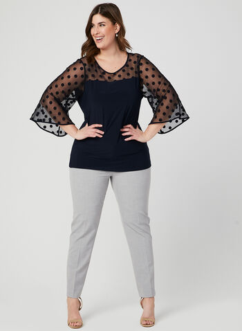 Polka Dot Print Mesh Top, Blue, hi-res