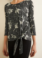 Tropical Print ¾ Sleeve Top, Black