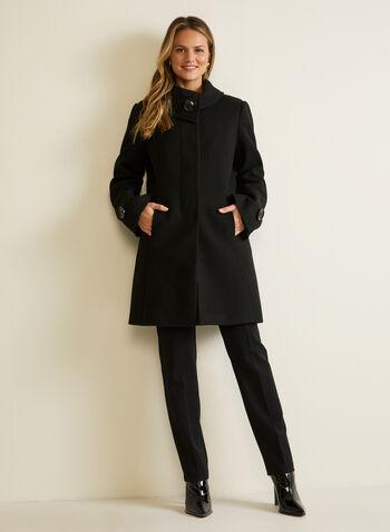 Manteau aspect laine extensible à boutons, Noir,  automne hiver 2020, manteau, laine, boutons, poches