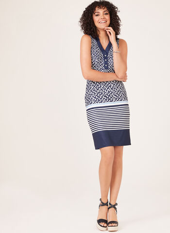 Abstract Print V-Neck Dress, Blue, hi-res