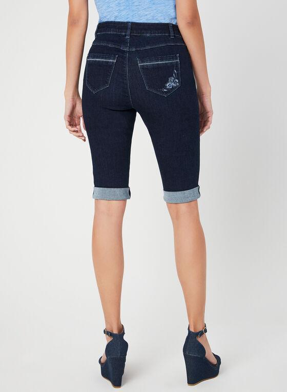 Modern Fit Embroidered Denim Shorts, Blue, hi-res