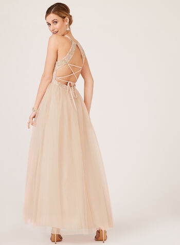 Lace Up Open Back Tulle Dress, Pink, hi-res