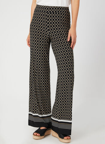 Geometric Print Wide Leg Pants, Black, hi-res