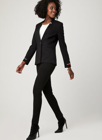 Embroidered Notch Collar Blazer, Black, hi-res