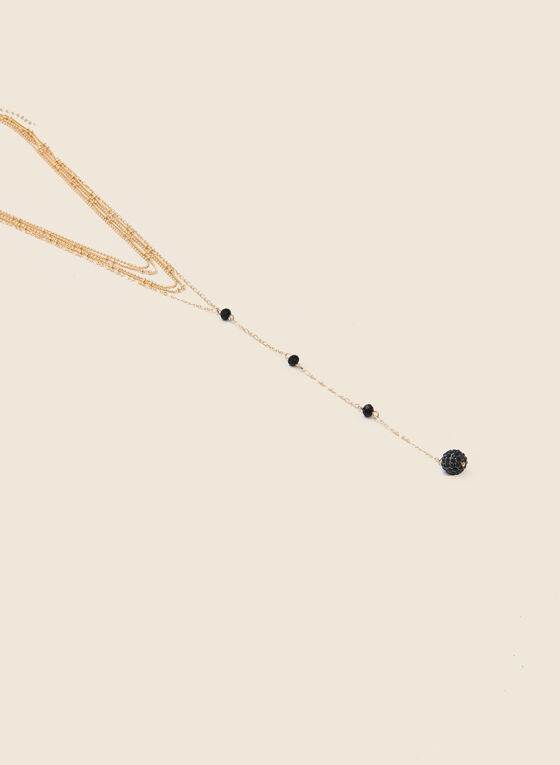 Tiered Multi-Chain Y Necklace, Black