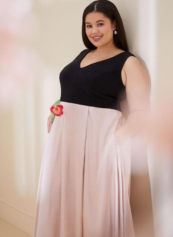 Sleeveless Jersey & Satin Dress, Black