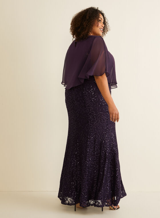 Sequin Lace Poncho Dress, Purple