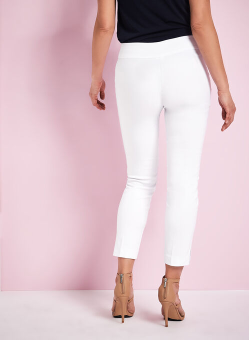 Pantalon à pinces en bengaline, Blanc, hi-res
