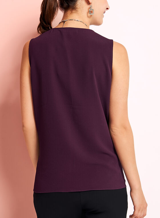 Sleeveless Tiered Chiffon Blouse, Purple, hi-res