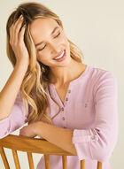 Cotton Henley Neck T-Shirt, Purple