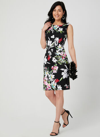 Floral Print Sleeveless Dress, Black, hi-res