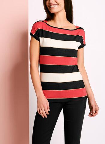 T-shirt rayé orné de boutons, Rouge, hi-res