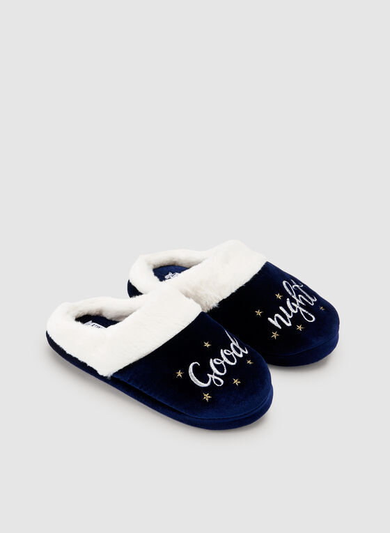 Ellen Tracy - Embroidered Velour Slippers, Blue, hi-res