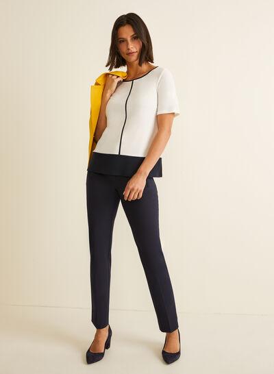Short Sleeve Contrast Top