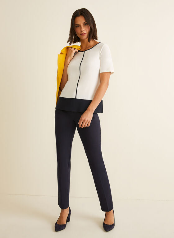 Short Sleeve Contrast Top, Off White