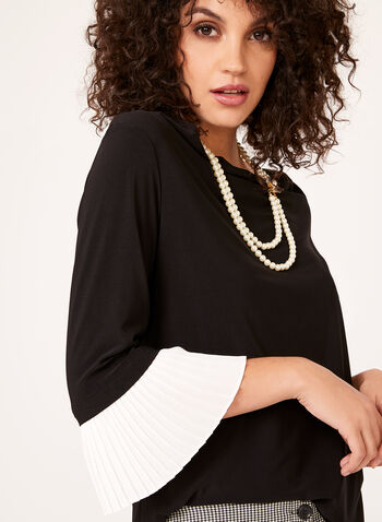 Pleated Bell Sleeve Blouse , Black, hi-res