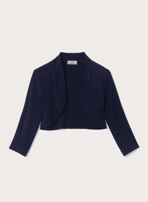 Open Front ¾ Sleeve Bolero , Blue, hi-res