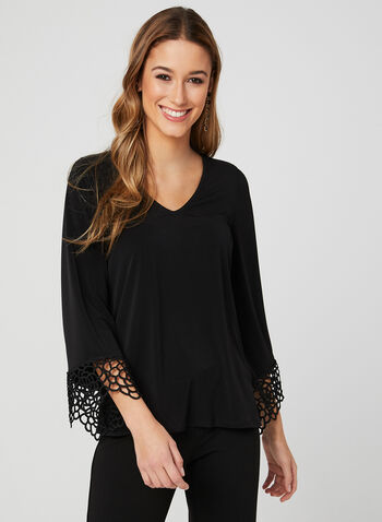 Bell Sleeve Jersey Blouse, Black, hi-res