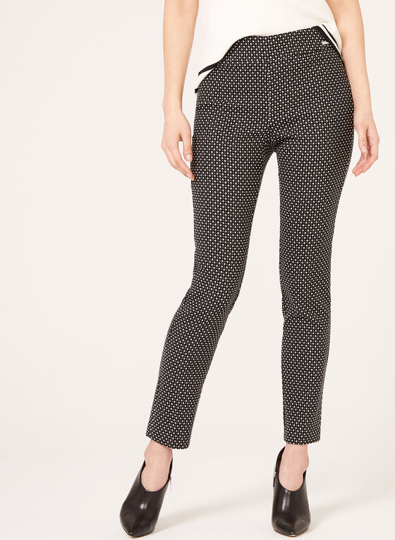 City Fit Slim Leg Pull-On Print Pants, Black, hi-res