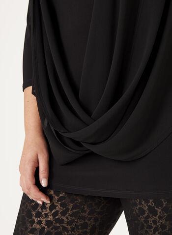 Haut manches ¾ avec effet croisé et drapé, Noir, hi-res