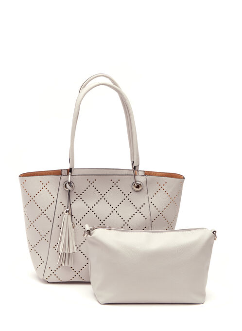 Diamond & Tassel Detail Tote , Grey, hi-res