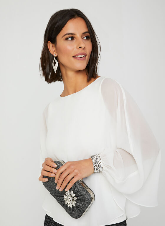 Capelet-Style Chiffon Blouse, Off White