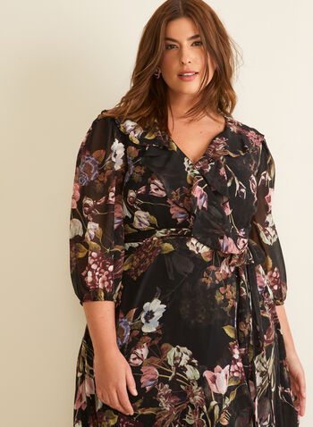 Floral Print Ruffled Hem Dress, Black,  dress, day, chiffon, floral, 3/4 sleeves, balloon sleeves, wrap, belt, spring summer 2020