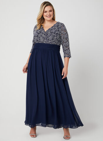 Chiffon Empire Waist Dress, Blue, hi-res
