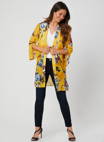 Floral Print Open Front Duster, Yellow, hi-res,  tunic, ¾ sleeves, 3/4 sleeves, blouse, summer 2019