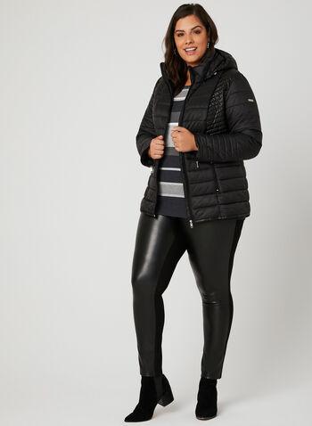 Novelti - Faux Leather Detail Quilted Coat, Black, hi-res