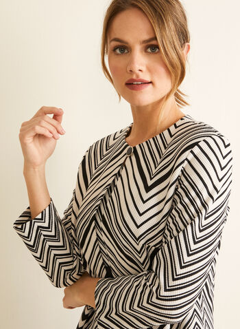 Chevron Print Dress & Cardigan, Black,  dress, day, sleeveless, chevron, waffle knit, set, ensemble, cardigan, shoulder pads, spring summer 2020