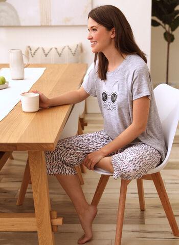 Cat Print Pyjama Set, Grey,  spring summer 2021, pyjama, pj, set, sleepwear, tee, capris, capri, pull-on, elastic waist, short sleeve, soft, straight leg, leopard print, animal print, cat print, cat, fun, playful, sunglasses, meow