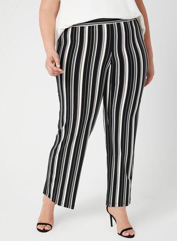 Pantalon pull-on rayé à jambe large, Noir,  pantalon, pull-on, jambe large, rayures, printemps 2019