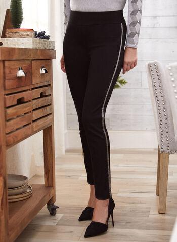 Pantalon étroit à bandes décoratives, Noir,  automne hiver 2020, pantalon, jambe étroite, bandes, taille élastique, à enfiler, pull-on, point de Rome