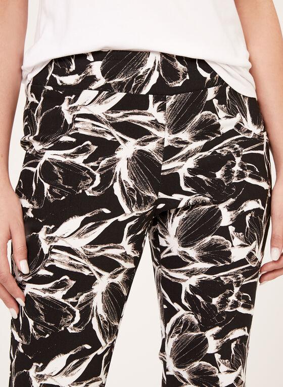 Pantalon pull-on fleuri à jambe étroite, Noir, hi-res