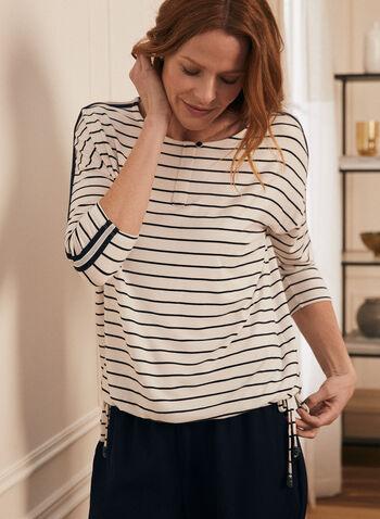 T-shirt rayé à manches ¾, Blanc,  t-shirt, manches 3/4, liens, bouton, rayures, col dégagé, bandes ornementées, printemps été 2020