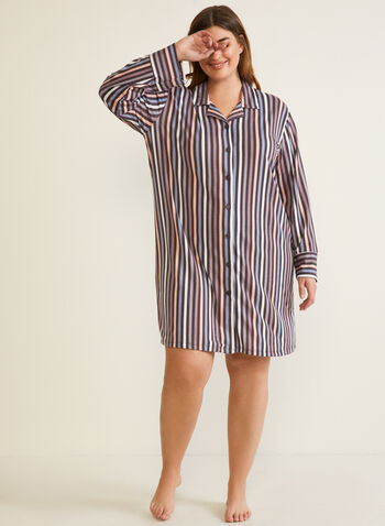 Long Sleeve Nightshirt, Brown,  fall winter 2020, nightshirt, pyjama