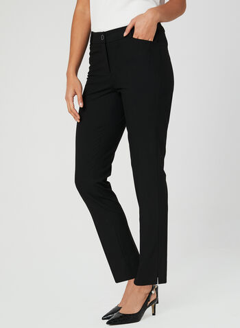 Cropped Straight Leg Pants, Black, hi-res,