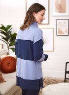Stripe Print Cowl Neck Tunic, Blue
